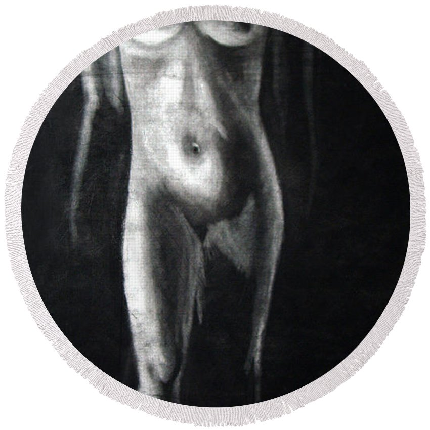 Model Round Beach Towel featuring the drawing Charcoal Nude Study by Nancy Mueller
