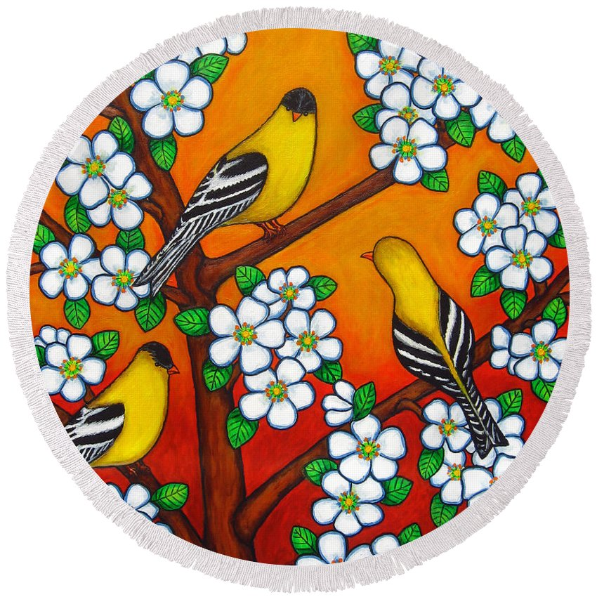 Goldfinch Round Beach Towel featuring the painting Chardonnay Sunset by Lisa Lorenz