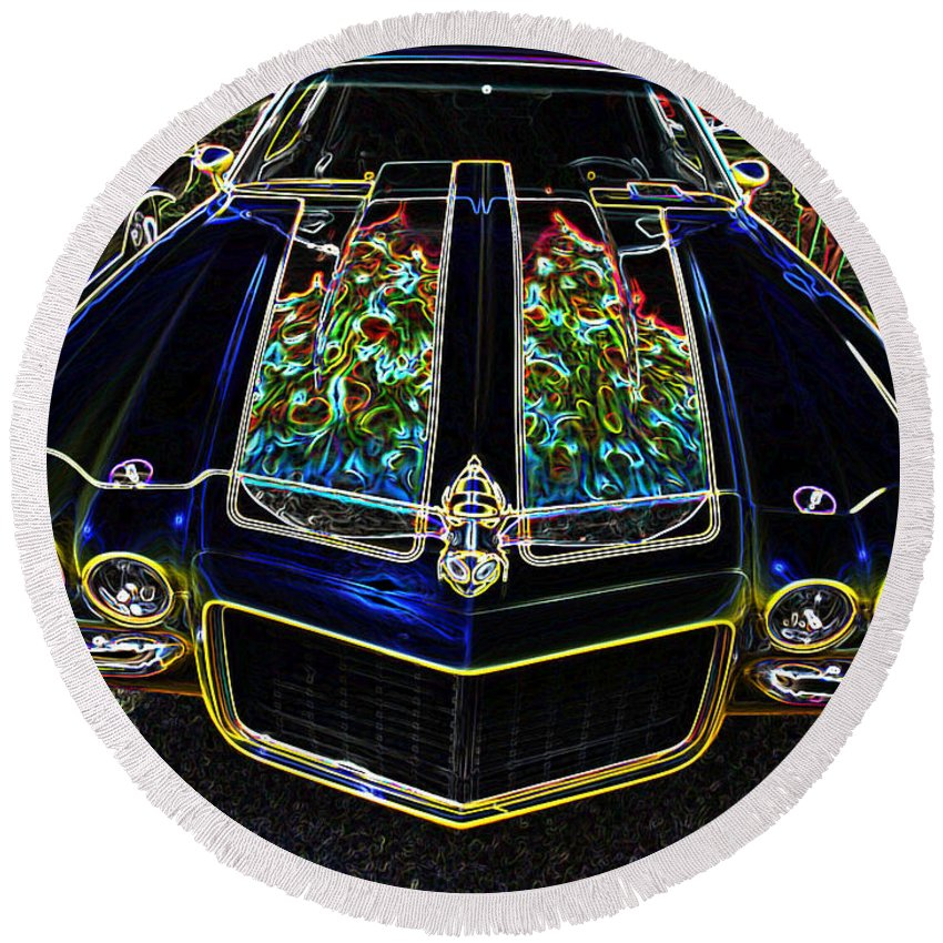 Car Round Beach Towel featuring the digital art Charged Up Camaro by Teri Schuster