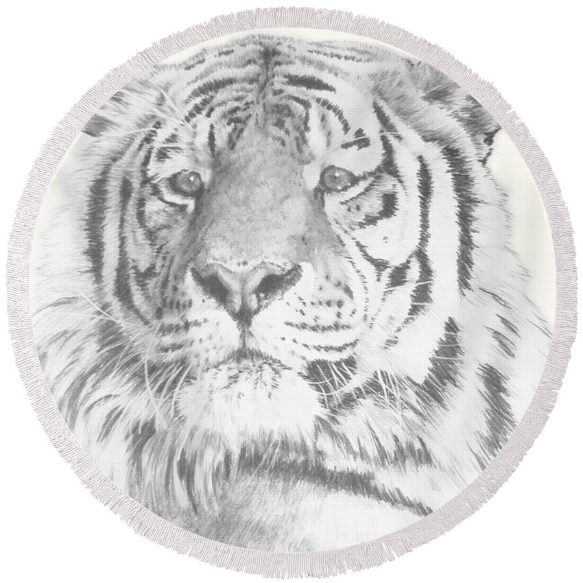Tiger Round Beach Towel featuring the mixed media Charisma by Barbara Keith
