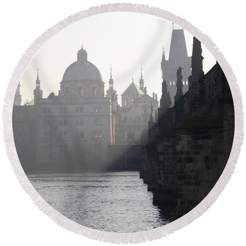 Bridge Round Beach Towel featuring the photograph Charles Bridge At Early Morning by Michal Boubin