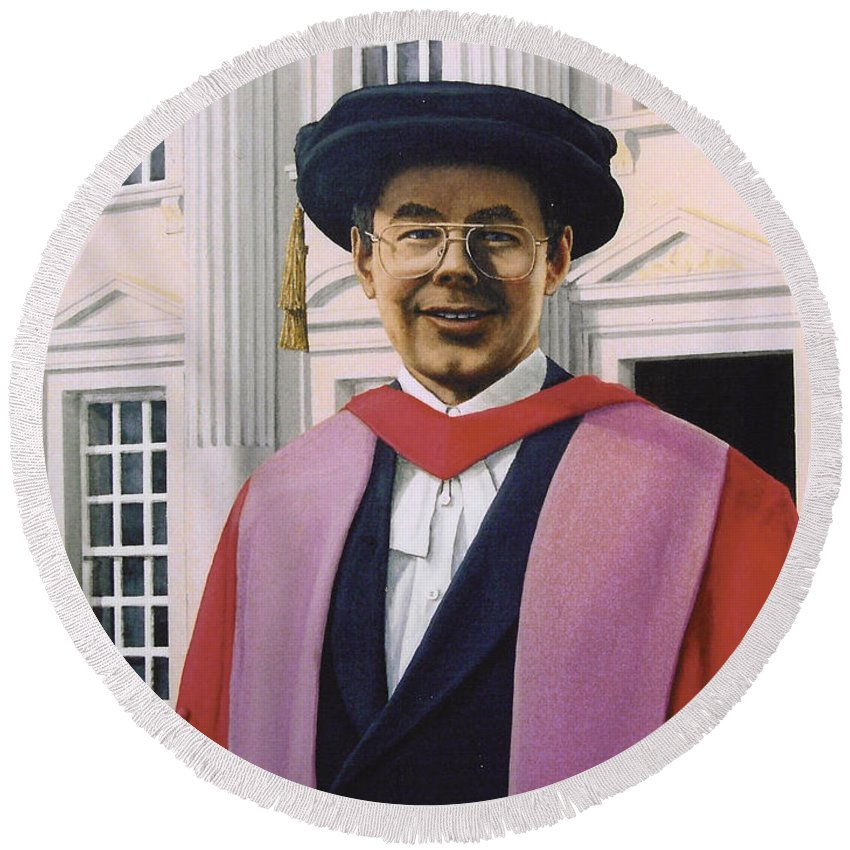 Portrait Round Beach Towel featuring the painting Charles Harpum Receiving Doctorate Of Law by Richard Harpum