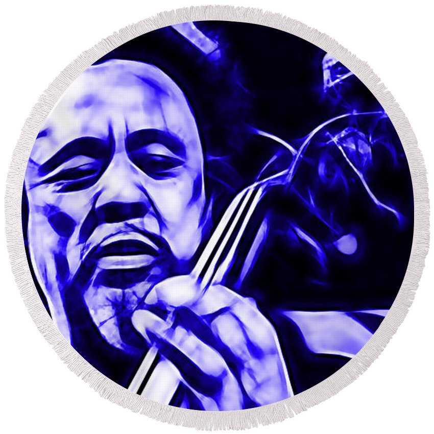 Charles Mingus Round Beach Towel featuring the mixed media Charles Mingus Collection by Marvin Blaine