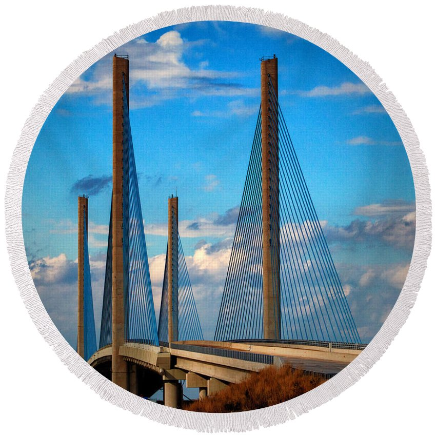 Indian River Bridge Round Beach Towel featuring the photograph Charles W Cullen Bridge South Approach by Bill Swartwout Fine Art Photography