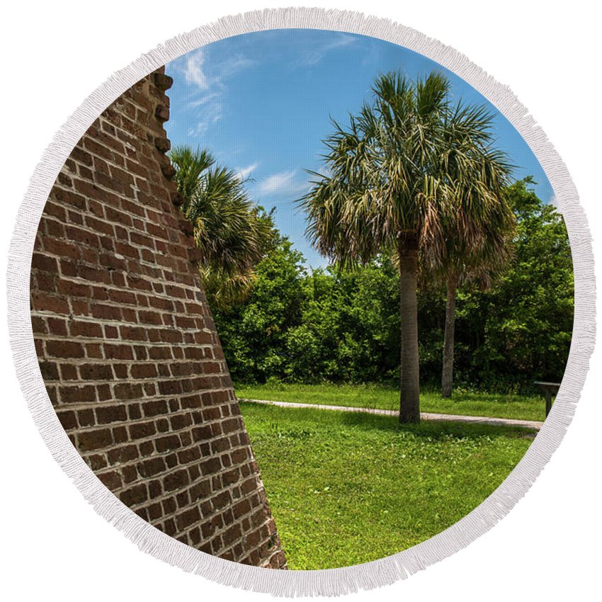 Fort Round Beach Towel featuring the photograph Charleston Fortification by Dale Powell