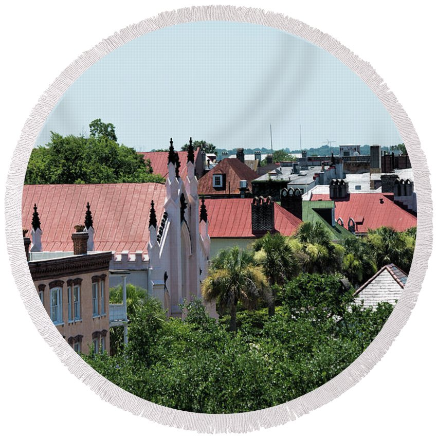 Rooftops Round Beach Towel featuring the photograph Charleston Rooftops - Queen And Church Streets by Ed Waldrop