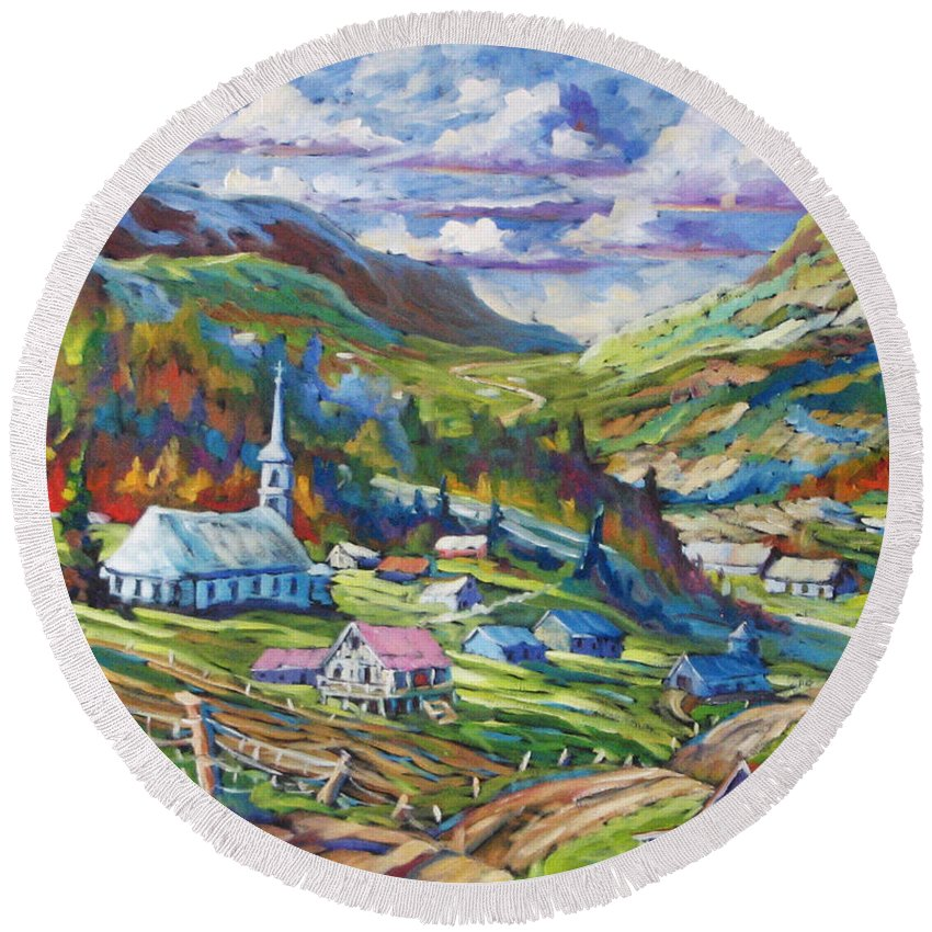 Charlevoix Round Beach Towel featuring the painting Charlevoix Inspiration by Richard T Pranke