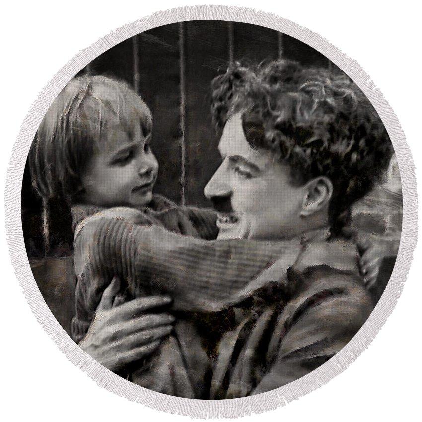 Charlie Chaplin Poster Round Beach Towel featuring the photograph Charlie Chaplin by Sergey Lukashin