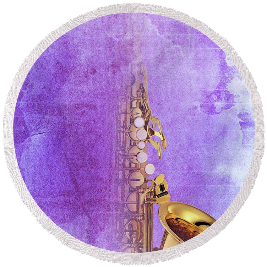Gift For Musicians Round Beach Towel featuring the digital art Charlie Parker Saxophone Purple Vintage Poster And Quote, Gift For Musicians by Drawspots Illustrations