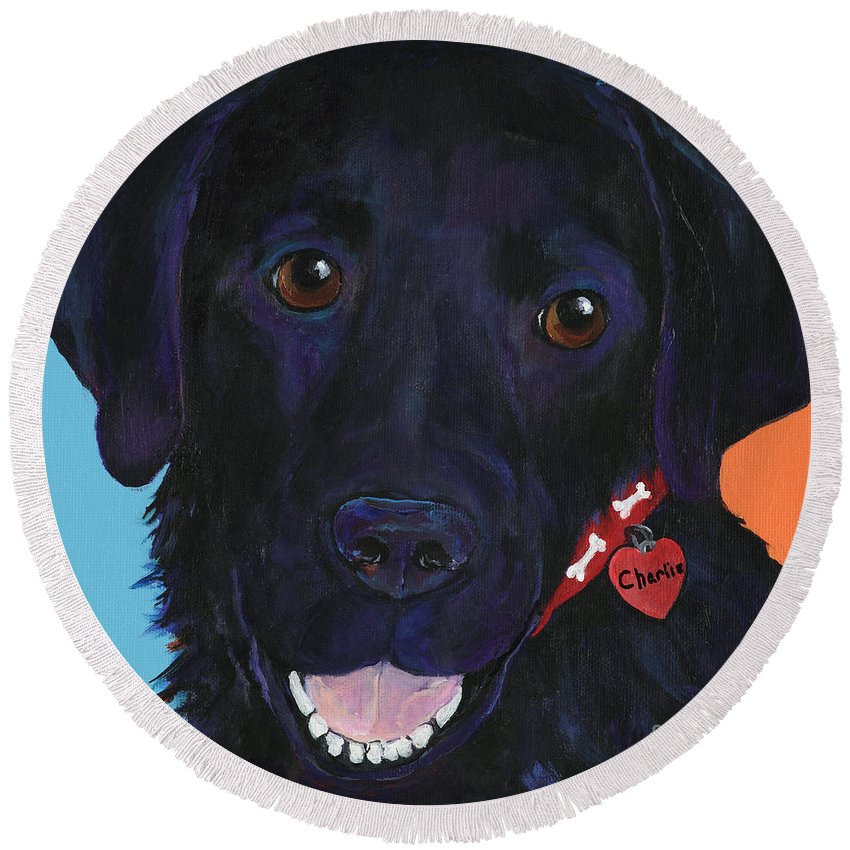Dog Art Round Beach Towel featuring the painting Charlie by Pat Saunders-White