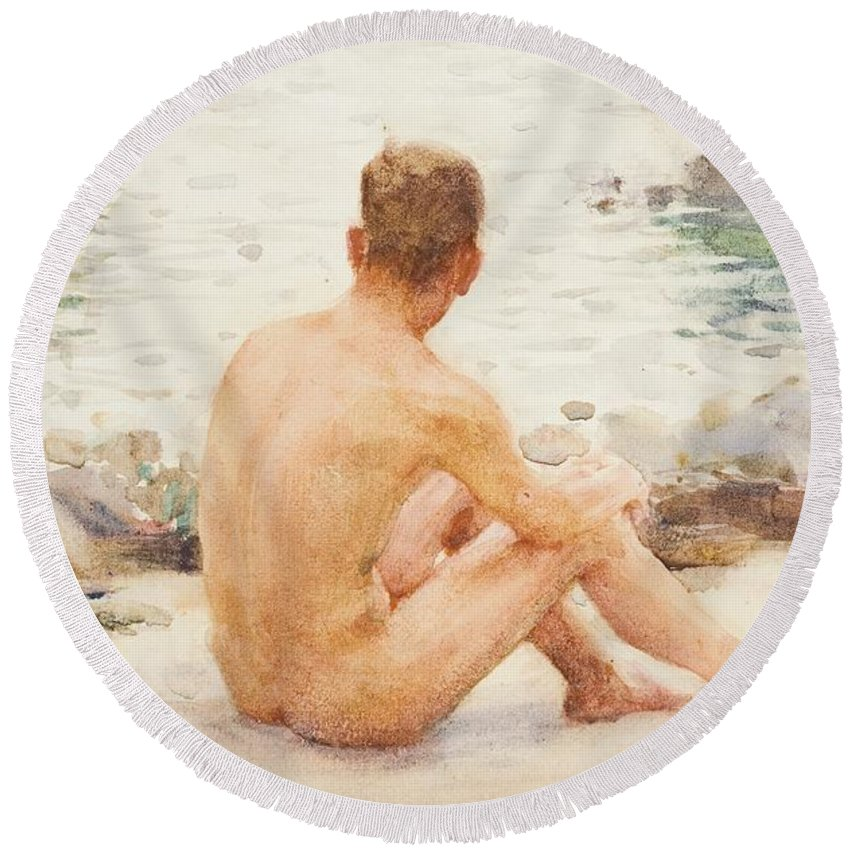 Charlie Mitchell Round Beach Towel featuring the painting Charlie Seated On The Sand by Henry Scott Tuke