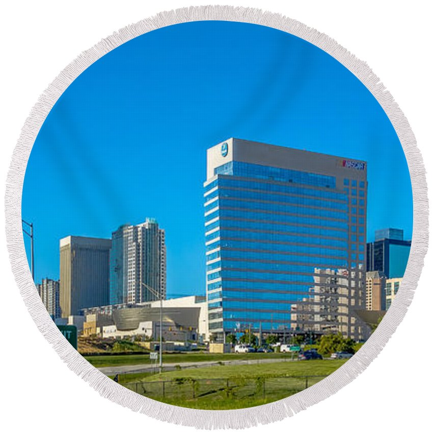 Charlotte Round Beach Towel featuring the photograph Charlotte North Carolina Cityscape Of Downtown by Alex Grichenko