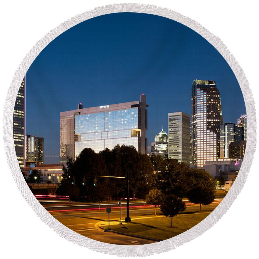 Charlotte Round Beach Towel featuring the photograph Charlotte North Carolina Skyline At Dusk by Bill Cobb