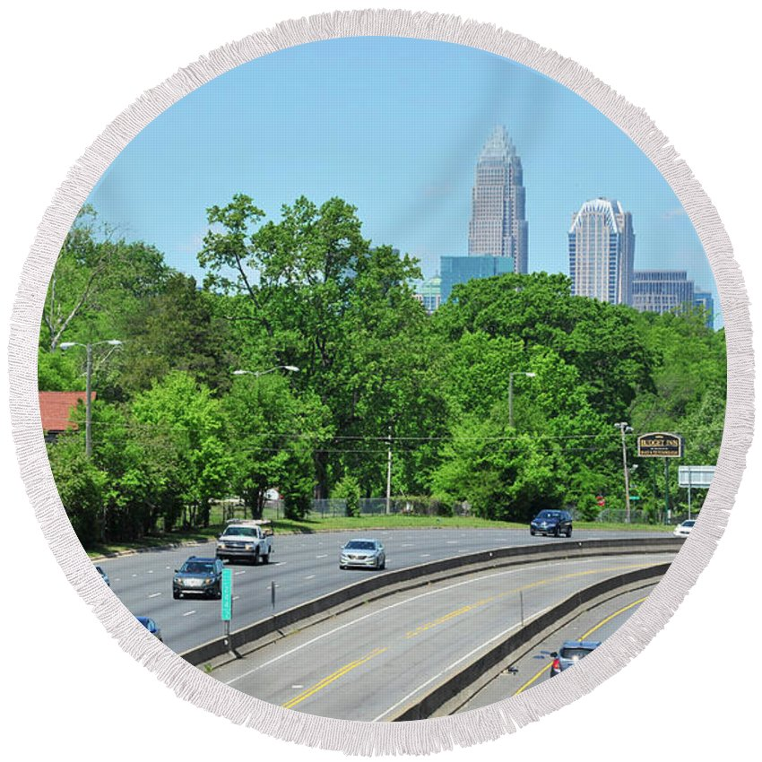 Building Round Beach Towel featuring the photograph Charlotte Skyline From A Distance by Dennis Ludlow