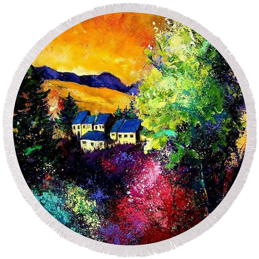 Landscape Round Beach Towel featuring the painting Charnoy by Pol Ledent