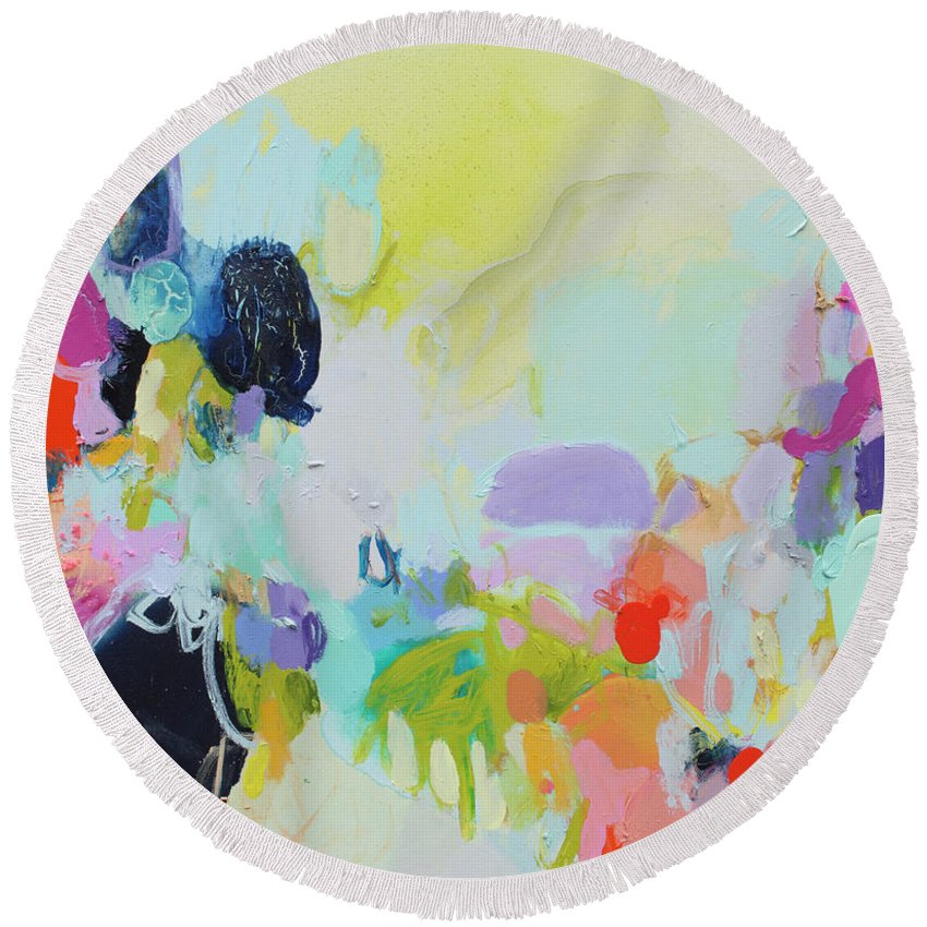 Abstract Round Beach Towel featuring the painting Chartreuse Stop by Claire Desjardins