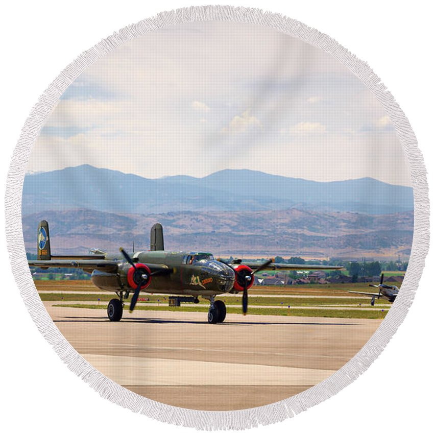Chase Plane Round Beach Towel featuring the photograph Chase Plane by Jon Burch Photography