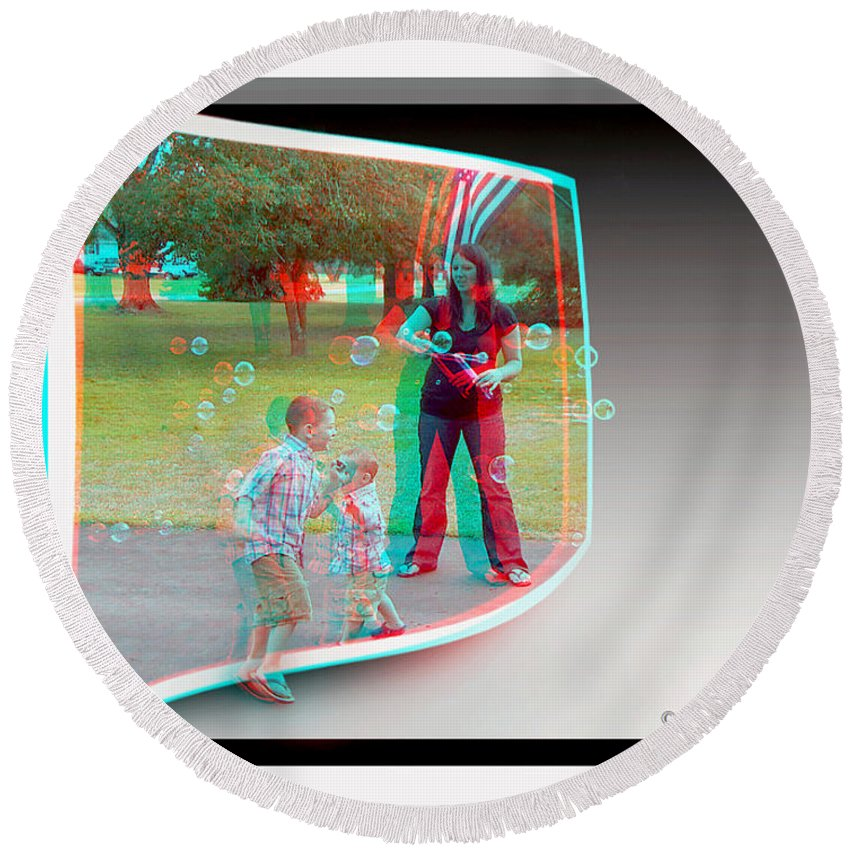 3d Round Beach Towel featuring the photograph Chasing Bubbles - Use Red-cyan 3d Glasses by Brian Wallace