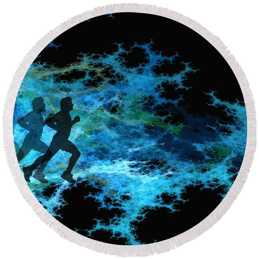 Chasing Round Beach Towel featuring the digital art Chasing The Joneses by Brainwave Pictures