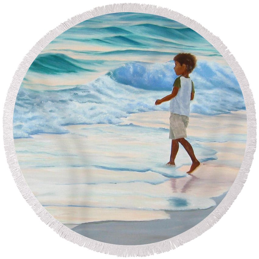 Child Round Beach Towel featuring the painting Chasing The Waves by Lea Novak