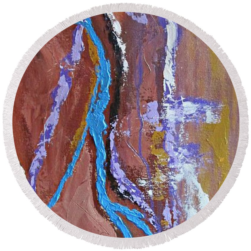 Abstract Round Beach Towel featuring the painting Chasm by Mary Mirabal