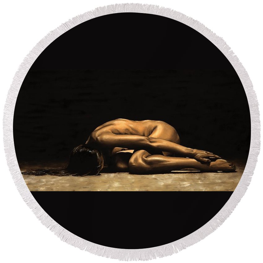 Nude Round Beach Towel featuring the painting Chastity by Richard Young
