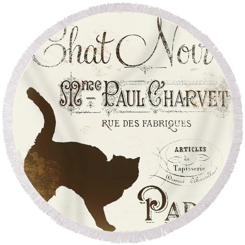 Cat. Cats. Black Cats Round Beach Towel featuring the painting Chat Noir Paris by Mindy Sommers