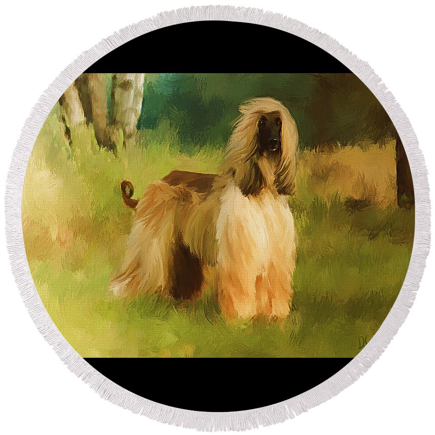 Afghan Hound Round Beach Towel featuring the painting Chatai by Diane Chandler