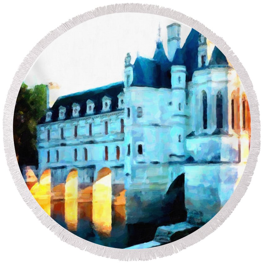 Walls Round Beach Towel featuring the painting Chateau De Chenonceau by Jeelan Clark