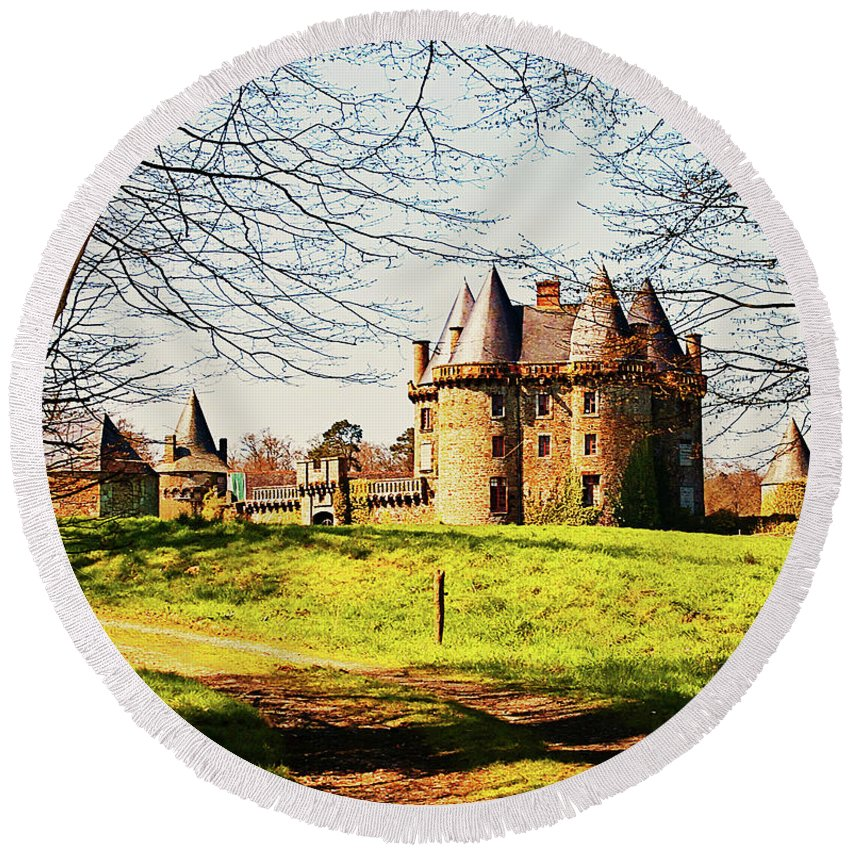 French Architecture Round Beach Towel featuring the photograph Chateau De Landale by Elf Evans