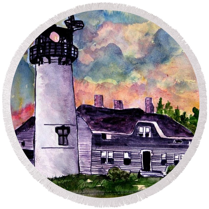 Lighthouse Round Beach Towel featuring the painting Chatham Lighthouse Martha's Vineyard Massachuestts Cape Cod Art by Derek Mccrea