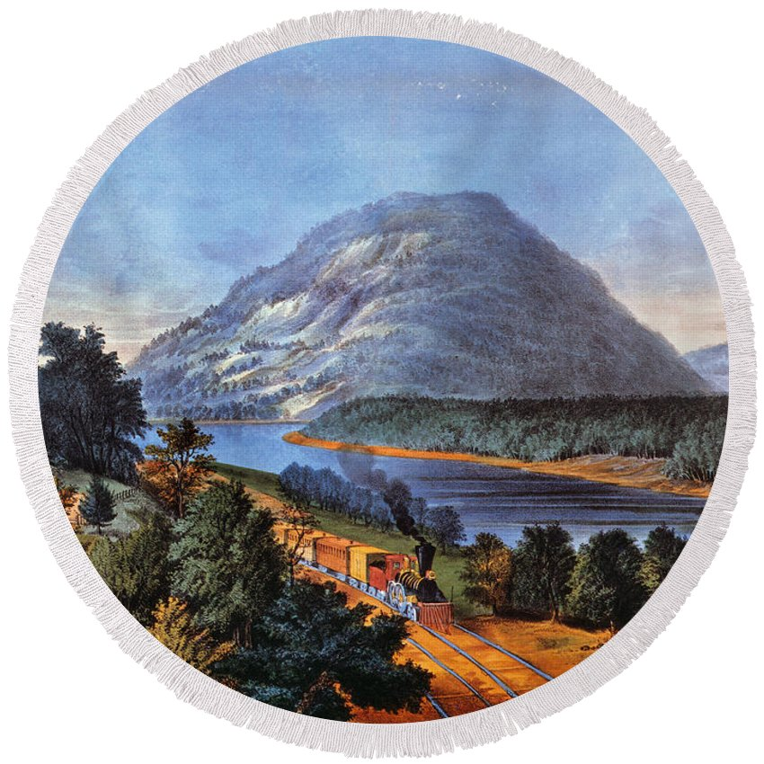 1866 Round Beach Towel featuring the photograph Chattanooga Railroad by Granger