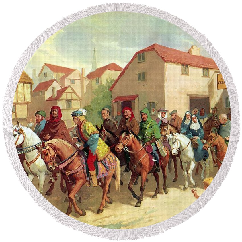 Chaucer's Pilgrims ;geoffrey Chaucer; The Canterbury Tales; Tabard Inn; Horses; Pilgrimage; To Canterbury Round Beach Towel featuring the painting Chaucer's Pilgrims by van der Syde
