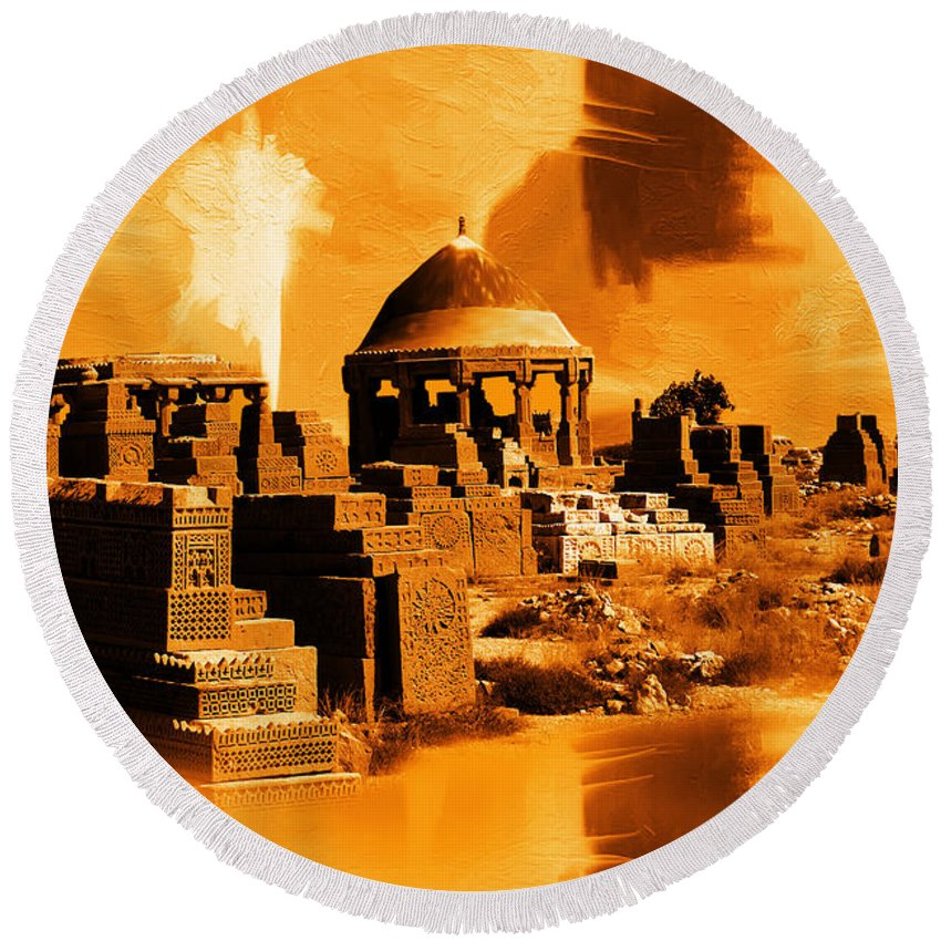 Chaukhandi Tombs Round Beach Towel featuring the painting Chaukhandi Tombs by Gull G