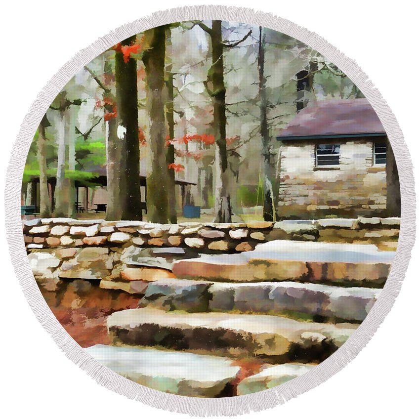 Cheaha Lake Round Beach Towel featuring the painting Cheaha State Park In The Fall by Jeelan Clark