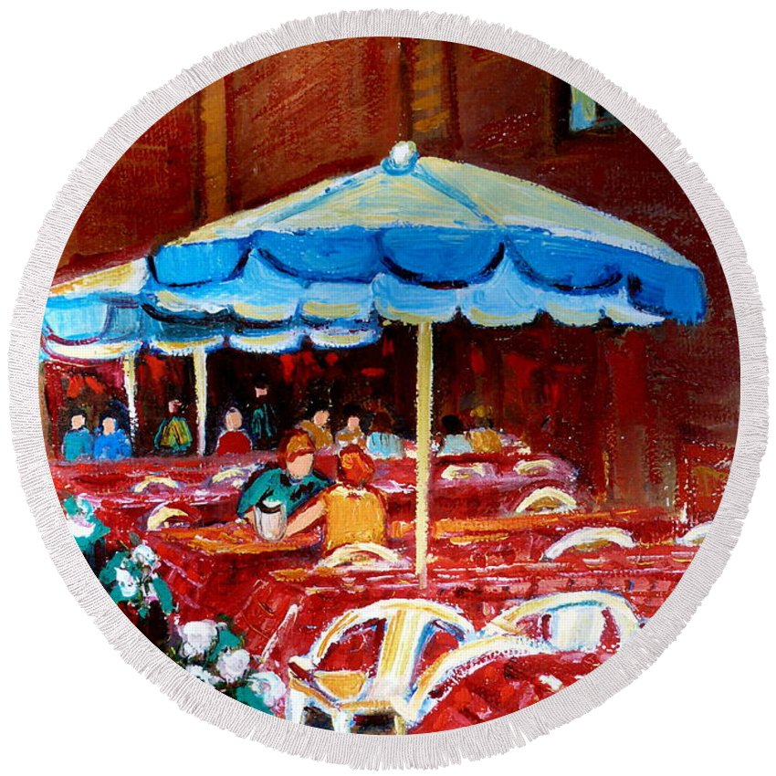 Montreal Round Beach Towel featuring the painting Checkered Tablecloths by Carole Spandau