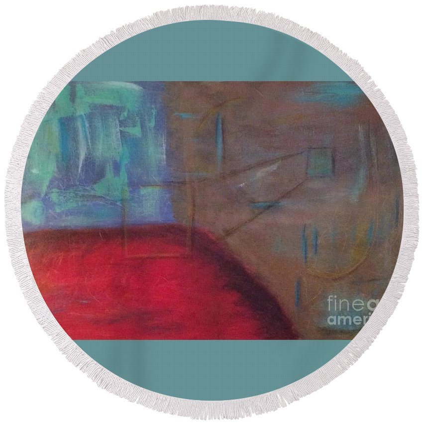 Square Round Beach Towel featuring the painting Checking All The Angles by Marlena Leach