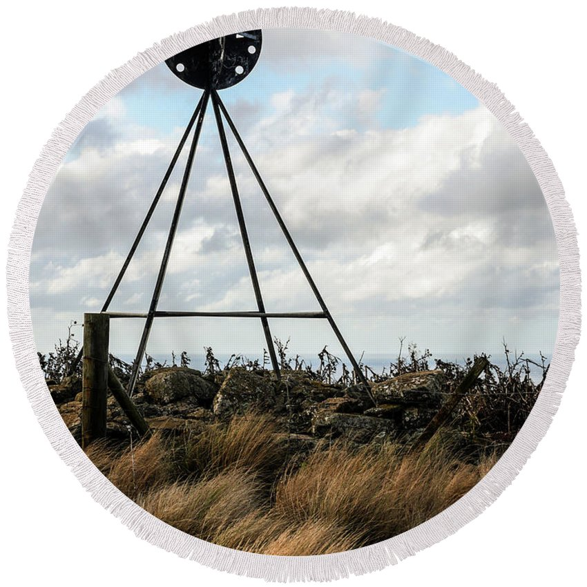 Weather Station Round Beach Towel featuring the photograph Checking The Weather by Lexa Harpell