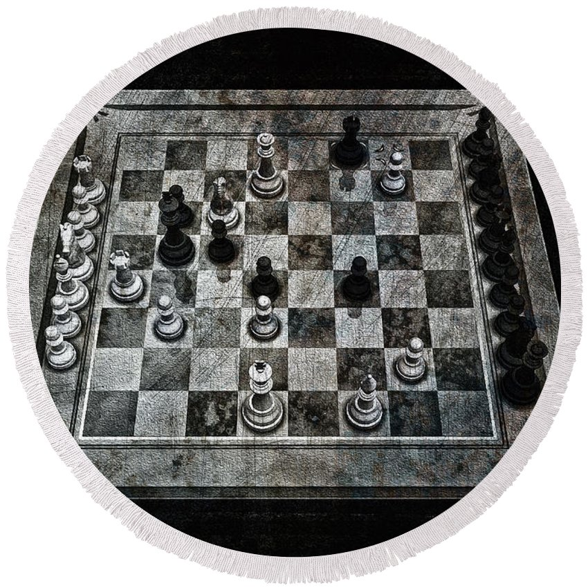 Checkmate In One Move Round Beach Towel featuring the digital art Checkmate In One Move by Ramon Martinez