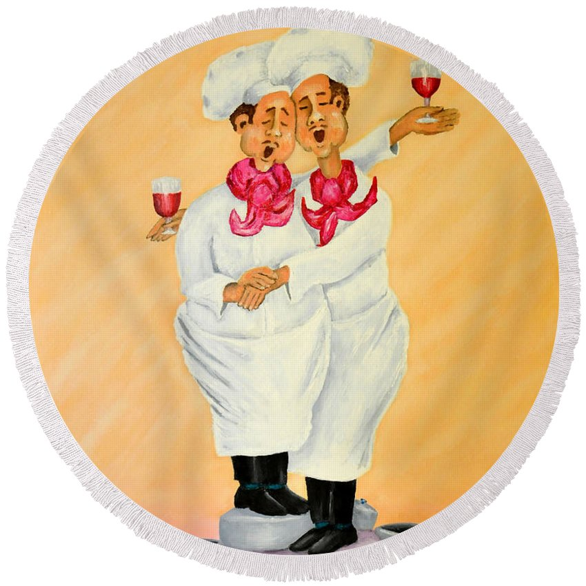 Singing Chefs Cheek To Cheek With Red Wine Round Beach Towel featuring the painting Cheek To Cheek by Barney Napolske
