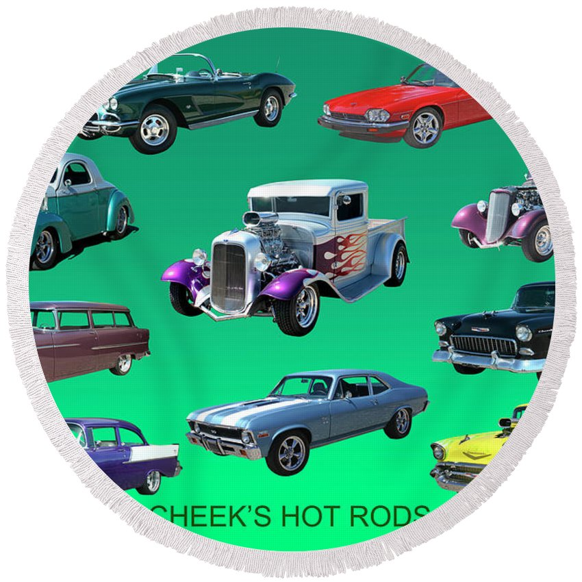 Muscle Cars Round Beach Towel featuring the painting Hot Collection by Jack Pumphrey