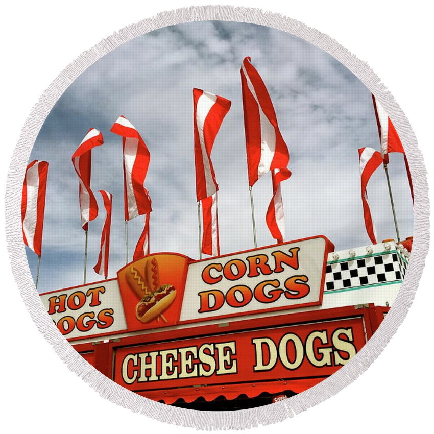 Hot Dogs Round Beach Towel featuring the photograph Cheese Dogs Galore by The Art of Alice Terrill