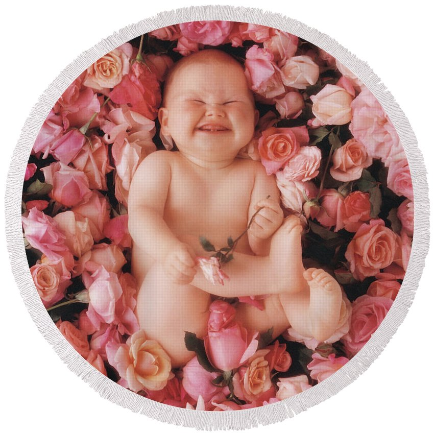 Roses Round Beach Towel featuring the photograph Cheesecake by Anne Geddes