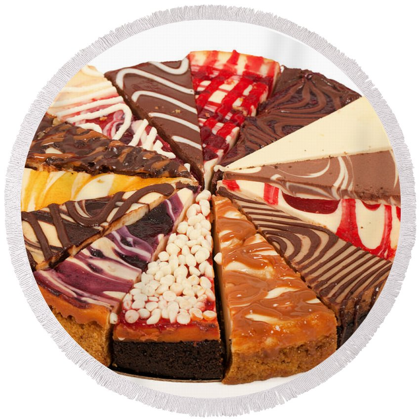 Slices Round Beach Towel featuring the photograph Cheesecake by Anthony Totah