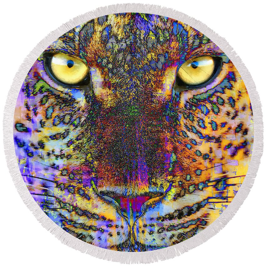 Cheetah Round Beach Towel featuring the mixed media Cheetah by Stacey Chiew