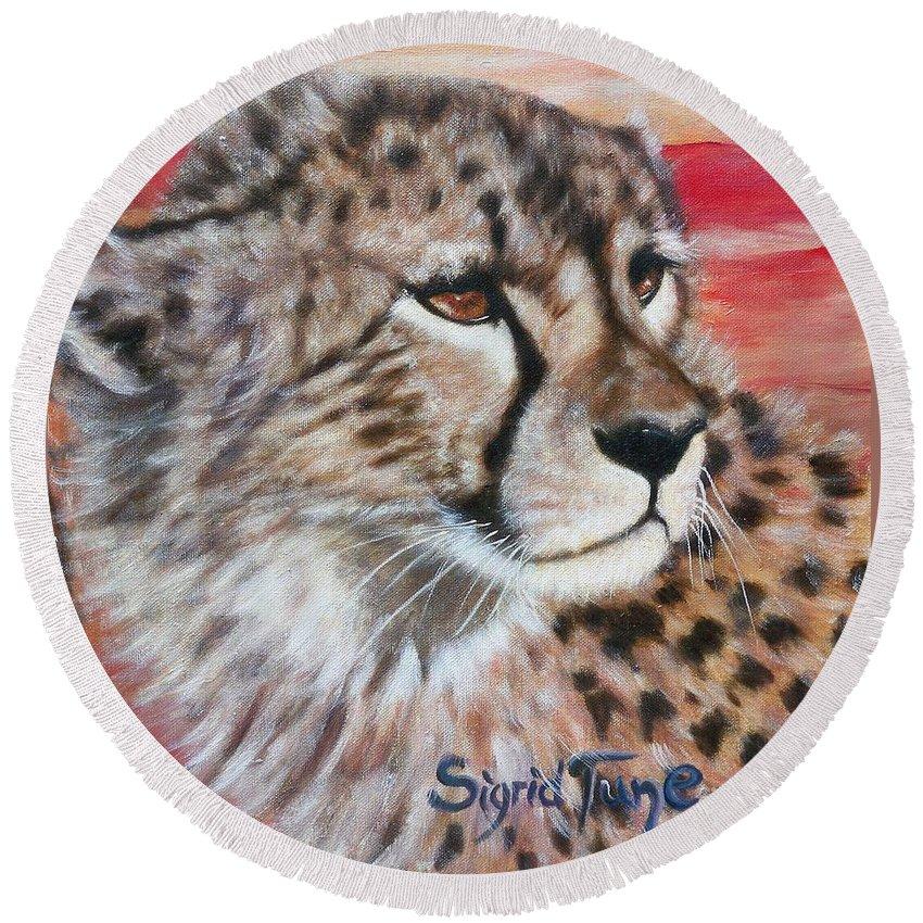 Beautiful Cheetahs Face Round Beach Towel featuring the painting Blaa Kattproduksjoner    Cheetahs Face by Sigrid Tune