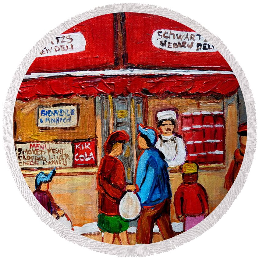 Schwartzs Hebrew Deli Round Beach Towel featuring the painting Chef In The Window by Carole Spandau