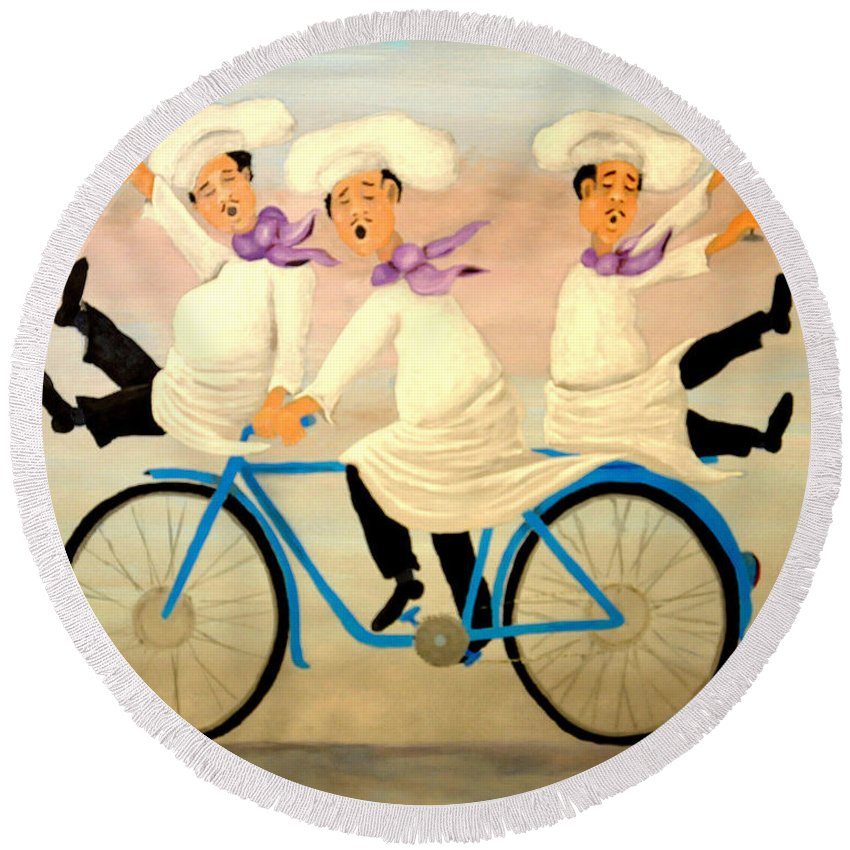Singing Chefs Round Beach Towel featuring the painting Chefs On A Bike by Barney Napolske