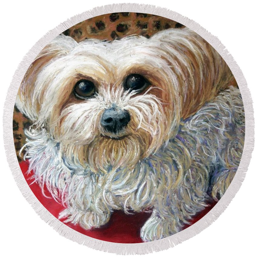 Dog Round Beach Towel featuring the painting My Friend by Minaz Jantz