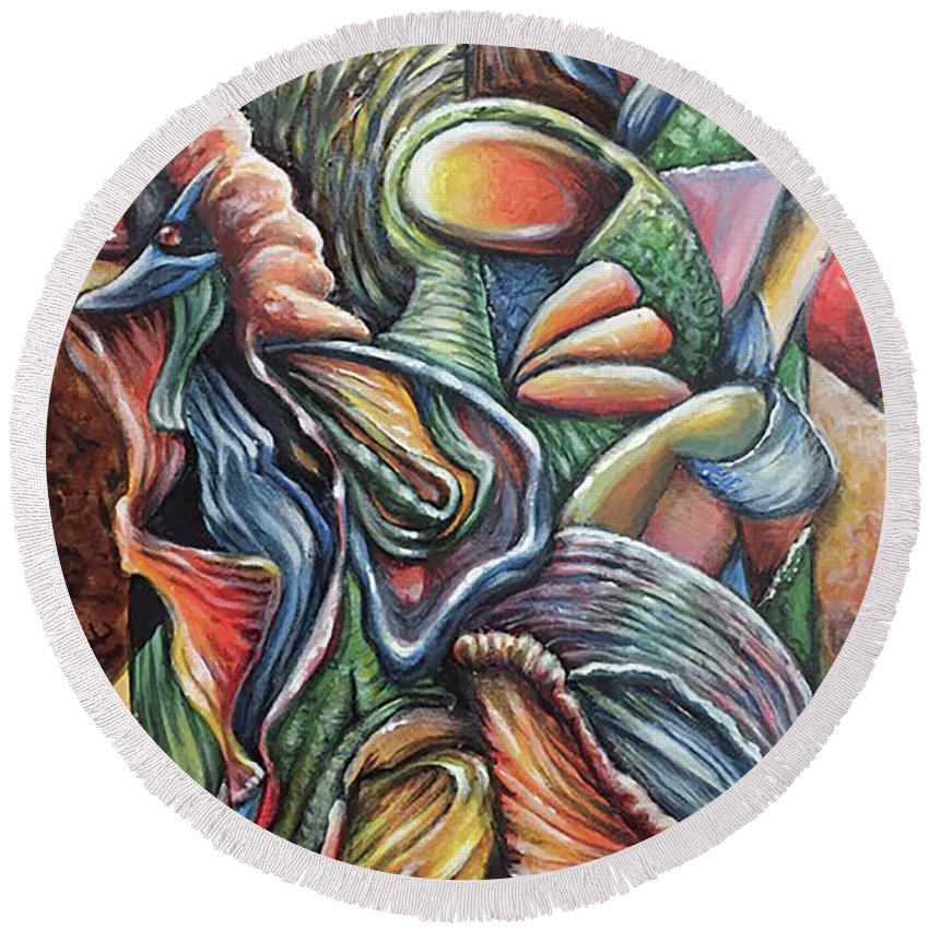 Bright Colorfull Abstract Painting Acryl Round Beach Towel featuring the painting Cherida by Conrad Van Zelst